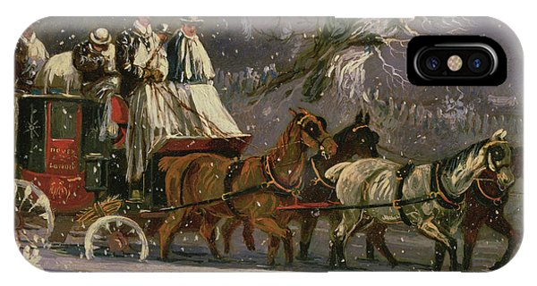 Snowy Road iPhone Case - London To Dover Coach In The Snow by Henry Thomas Alken