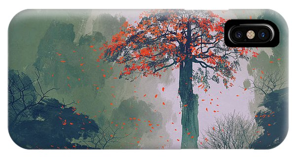Lonely Red Autumn Tree With Falling Phone Case by Tithi Luadthong