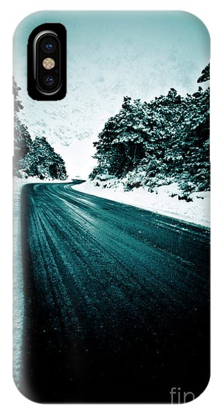 Lonely Road In The Countryside For A Car Trip And Disconnect From Stress IPhone Case