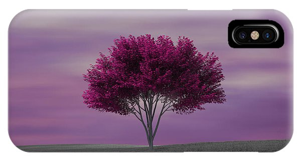 Lonely Tree At Purple Sunset IPhone Case