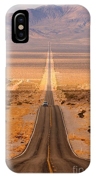 Death Valley iPhone Case - Long Desert Highway Leading Into Death by Nagel Photography