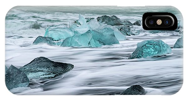 Long Exposure At The Jokulsarlon Ice Beach IPhone Case