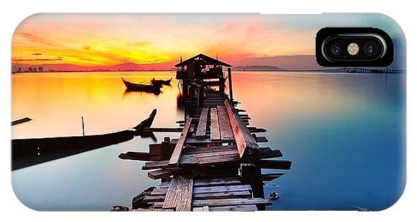 Beautiful Sunrise iPhone Case - Long Fishing Pier At Jelutong Penang by Azam Alwi