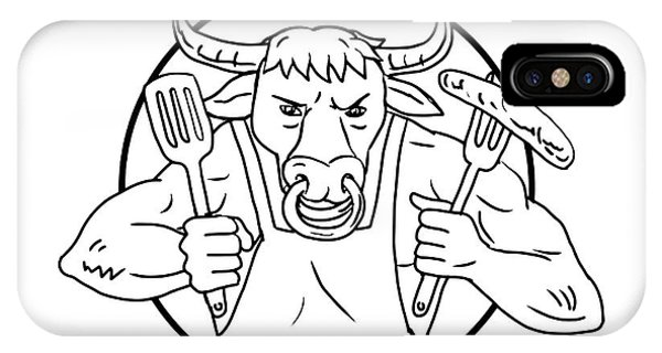 Barbeque iPhone Case - Longhorn Bull Holding Barbecue Sausage Drawing Black And White by Aloysius Patrimonio