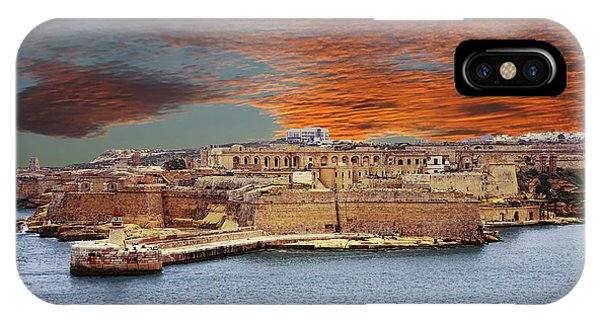 Looking Across Harbor From Fort St Elmo To  Fort Rikasoli IPhone Case