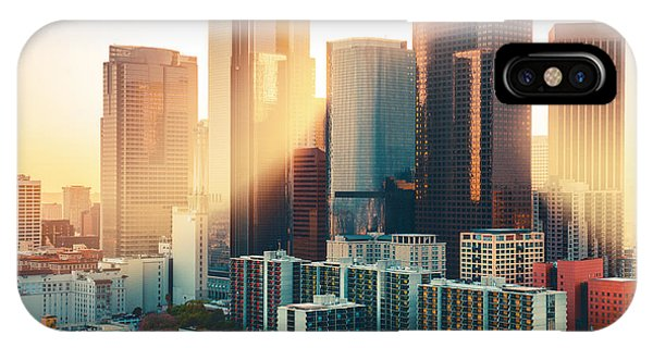 Hotel iPhone Case - Los Angeles Downtown Skyline At Sunset by Im photo