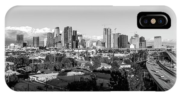 Los Angeles Skyline Looking East 2.9.19 - Black And White IPhone Case