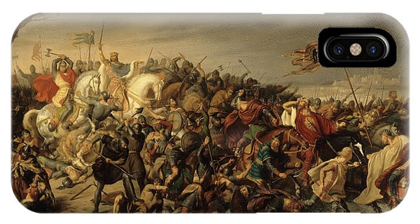 King Charles iPhone Case - Lothaire Defait L'empereur Othon II Sur Les Bords De L'aisne, 978 by Charles Durupt