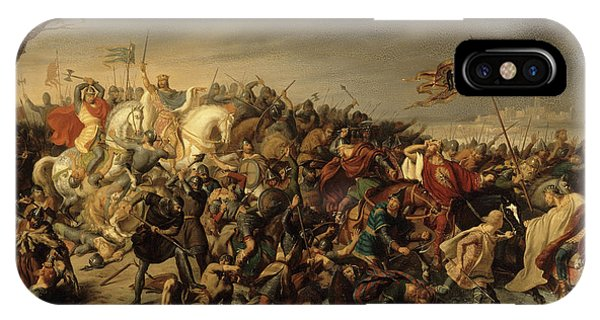 King Charles iPhone Case - Lothar Defeats Emperor Otto IIi On The Banks Of The Aisne, 978 by Charles Durupt