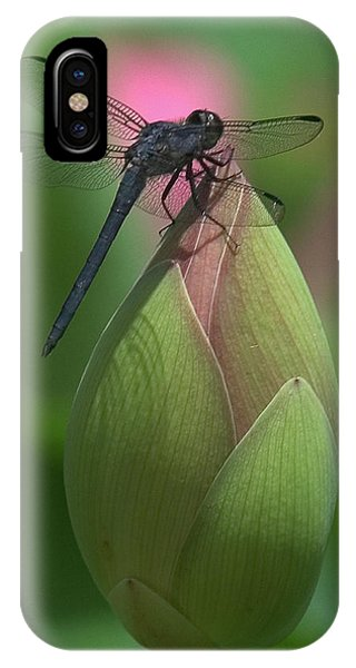 IPhone Case featuring the photograph Lotus Bud And Slaty Skimmer Dragonfly Dl0006 by Gerry Gantt