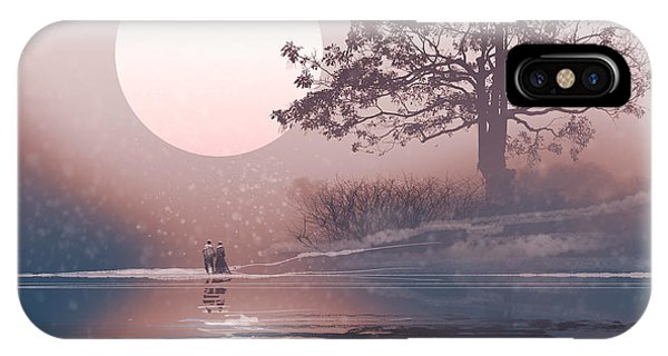 Freeze iPhone Case - Love Couple In Winter Landscape With by Tithi Luadthong