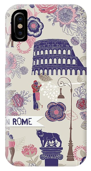 Ancient Rome iPhone Case - Love In Rome Greeting Card by Lavandaart