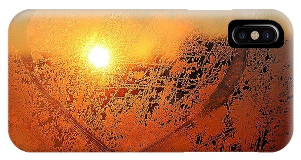 Beautiful Sunrise iPhone Case - Love Symbol Drawn On The Frozen Winter by Artdi101