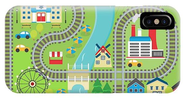 Fair iPhone Case - Lovely City Landscape Train Track Play by Medejaja