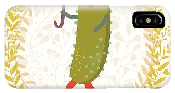 Kitchen iPhone Case - Lovely Cucumber In Funny Cartoon Style by Smilewithjul