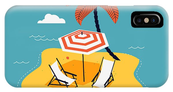Parasol iPhone Case - Lovely Vector Abstract Island Paradise by Mascha Tace