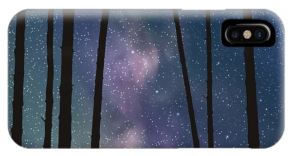 Space iPhone Case - Lovers In Forest. Vector Illustration by Arvitalyaa