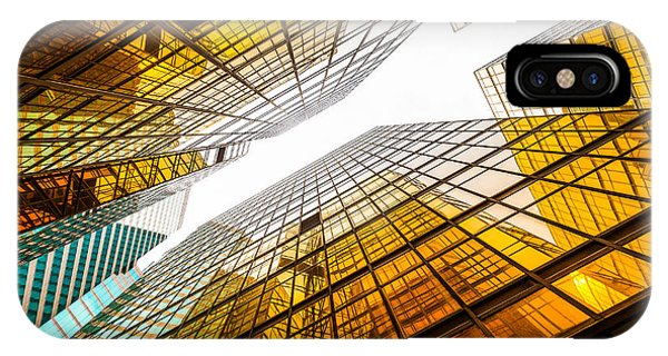 Office Buildings iPhone Case - Low Angle View Of Modern Skyscraper by Zhu Difeng