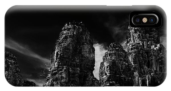 Angkor Thom iPhone Case - Low Angle View Of Ruins Of Carved Stone by Panoramic Images