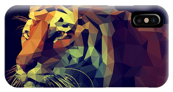Triangles iPhone Case - Low Poly Design. Tiger Illustration by Kundra