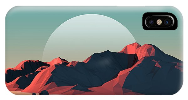 Ice iPhone Case - Low-poly Mountain Landscape At Dusk by Mark Kirkpatrick