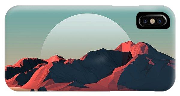 Simple Landscape iPhone Case - Low-poly Mountain Landscape At Dusk by Mark Kirkpatrick