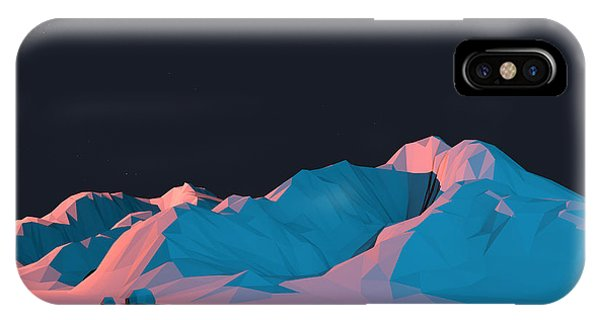 Simple Landscape iPhone Case - Low-poly Mountain Landscape At Night by Mark Kirkpatrick