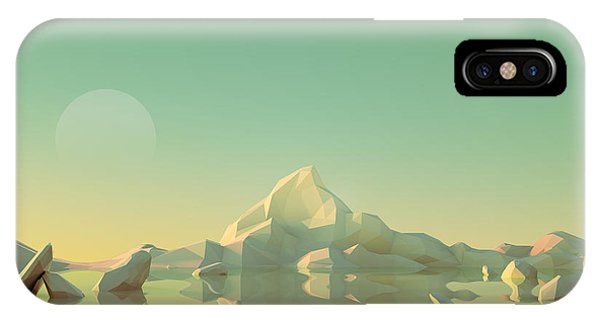 Simple Landscape iPhone Case - Low-poly Mountain Landscape Reflecting by Mark Kirkpatrick