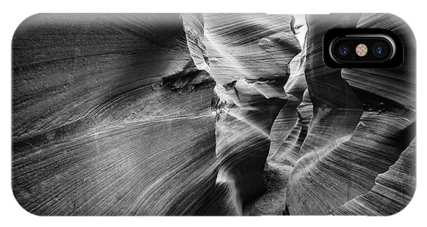 Sandstone iPhone Case - Lower Antelope Canyon In Black And by Francesco Ferrarini