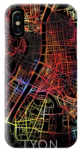 French iPhone Case - Lyon France Watercolor City Street Map Dark Mode by Design Turnpike