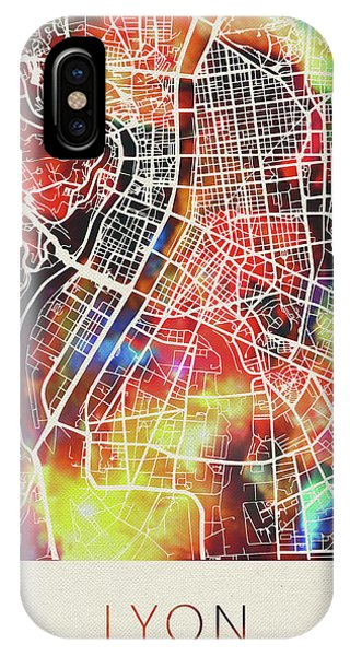 French iPhone Case - Lyon France Watercolor City Street Map by Design Turnpike
