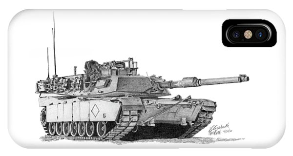 IPhone Case featuring the drawing M1a1 Battalion Commander Tank by Betsy Hackett
