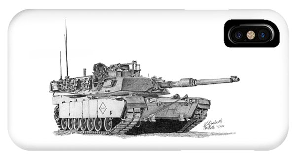 IPhone Case featuring the drawing M1a1 Battalion Master Gunner Tank by Betsy Hackett
