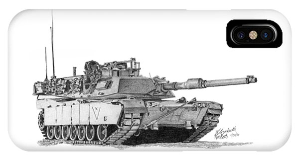 IPhone Case featuring the drawing M1a1 C Company Xo Tank by Betsy Hackett