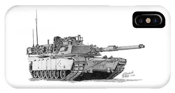 IPhone Case featuring the drawing M1a1 D Company Xo Tank by Betsy Hackett