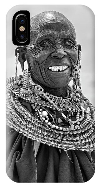 IPhone Case featuring the photograph Maasai Woman In Black And White by Kay Brewer
