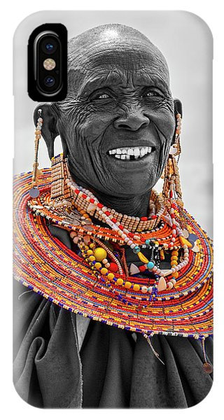 IPhone Case featuring the photograph Maasai Woman In Selective Color by Kay Brewer