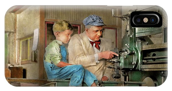 IPhone Case featuring the photograph Machinist - Spending Time With Grandpa 1921 by Mike Savad