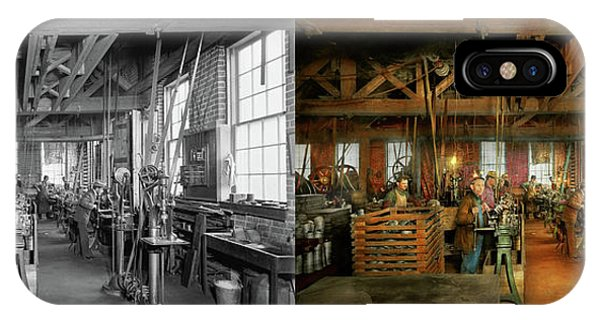 IPhone Case featuring the photograph Machinist - The Glazier Stove Company 1900 - Side By Side by Mike Savad