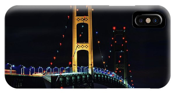 IPhone Case featuring the photograph Mackinac Bridge Lit Up by Dan Sproul