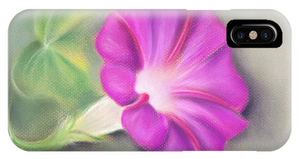 Magenta Morning Glory And Leaf IPhone Case