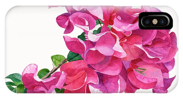 Violet iPhone Case - Magenta Red Violet Bougainvillea On White by Sharon Freeman