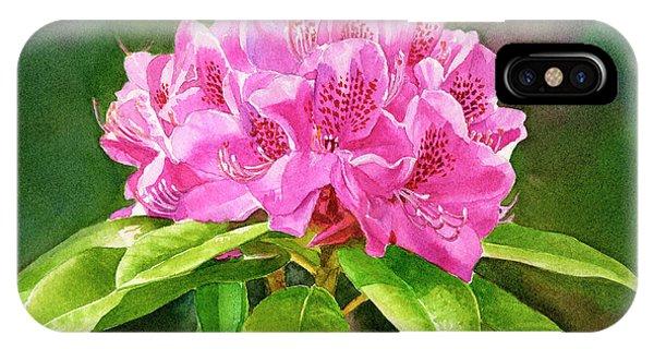 Dark Violet iPhone Case - Magenta Rhododendron With Background by Sharon Freeman