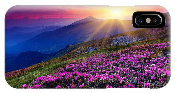 Beautiful Sunrise iPhone Case - Magic Pink Rhododendron Flowers On by Creative Travel Projects