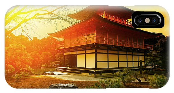 Old Building iPhone Case - Magical Sunset Over Kinkakuji Temple by Vvvita