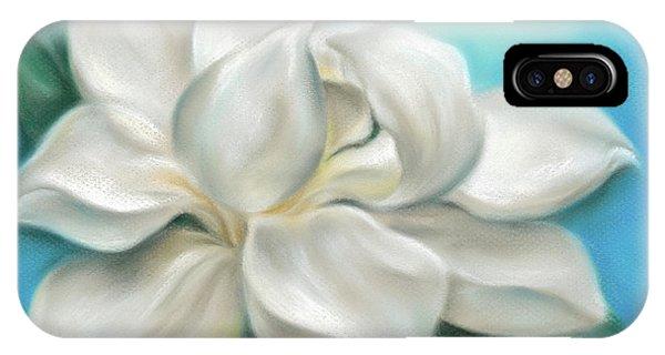 Magnolia Grandiflora Flower On Blue IPhone Case