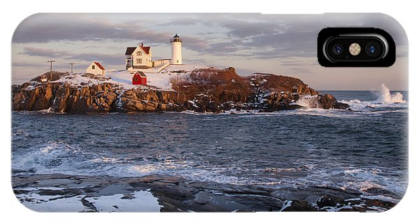 Background iPhone Case - Maines Nubble Cape Neddick Lighthouse by Allan Wood Photography
