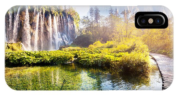 Spring Mountains iPhone Case - Majestic View On Waterfall With by Creative Travel Projects