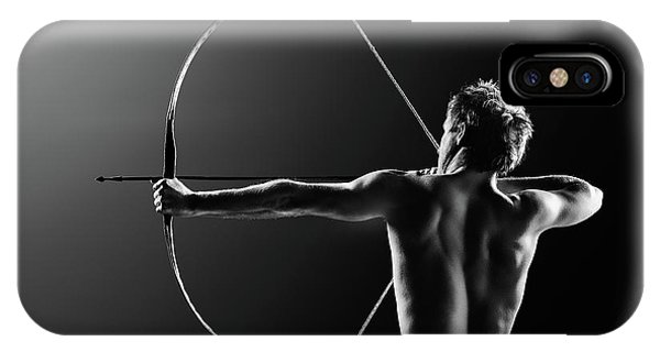 Shooting iPhone Case - Male Archer Drawing Long Bow by Johan Swanepoel