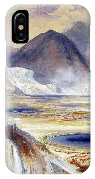 Mammoth Hot Springs iPhone Case - Mammoth Hot Springs, Yellowstone, 1872 by Thomas Moran
